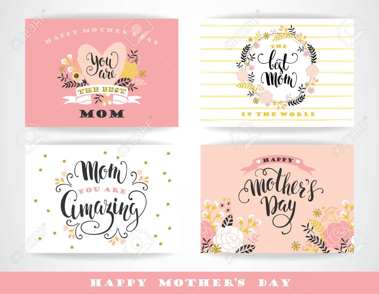 Set of Happy Mothers Day lettering greeting cards with Flowers. Vector illustration. - 55709825