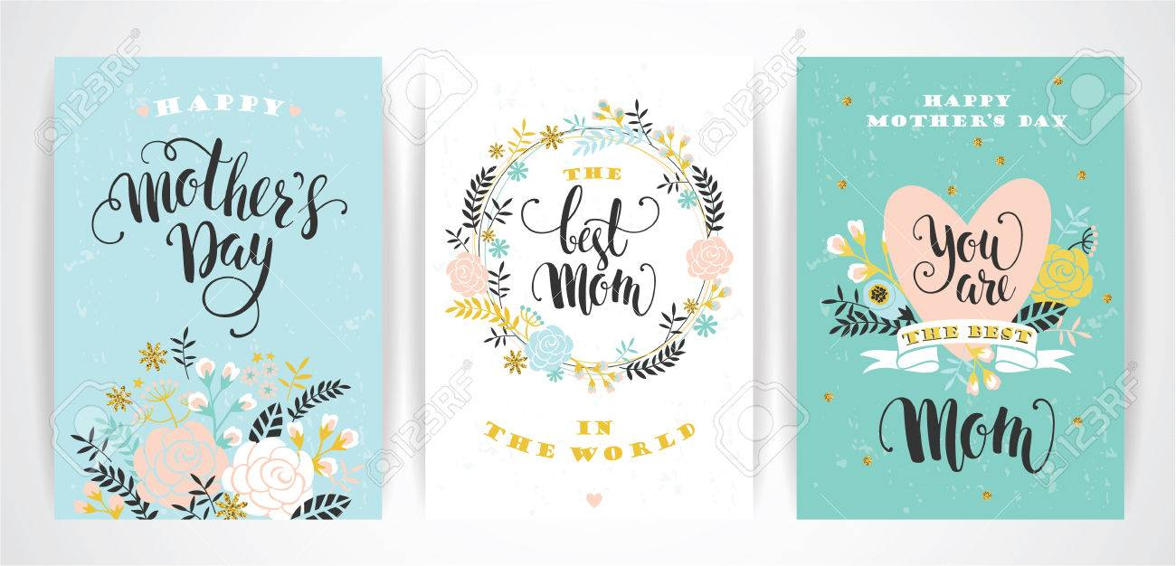 Set of Happy Mothers Day lettering greeting cards with Flowers. Vector illustration. - 55709824