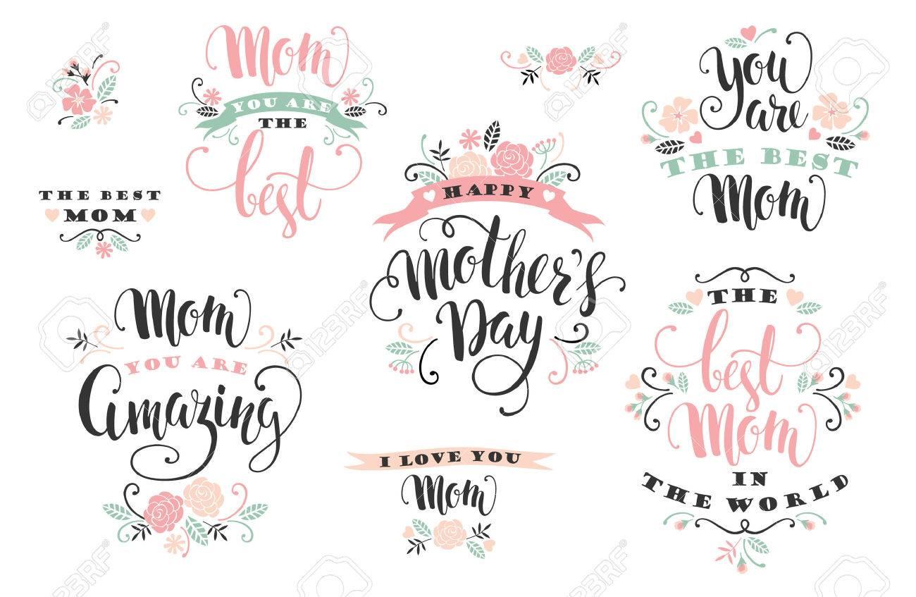 Mothers Day. Lettering design. Vector illustration. - 55709971
