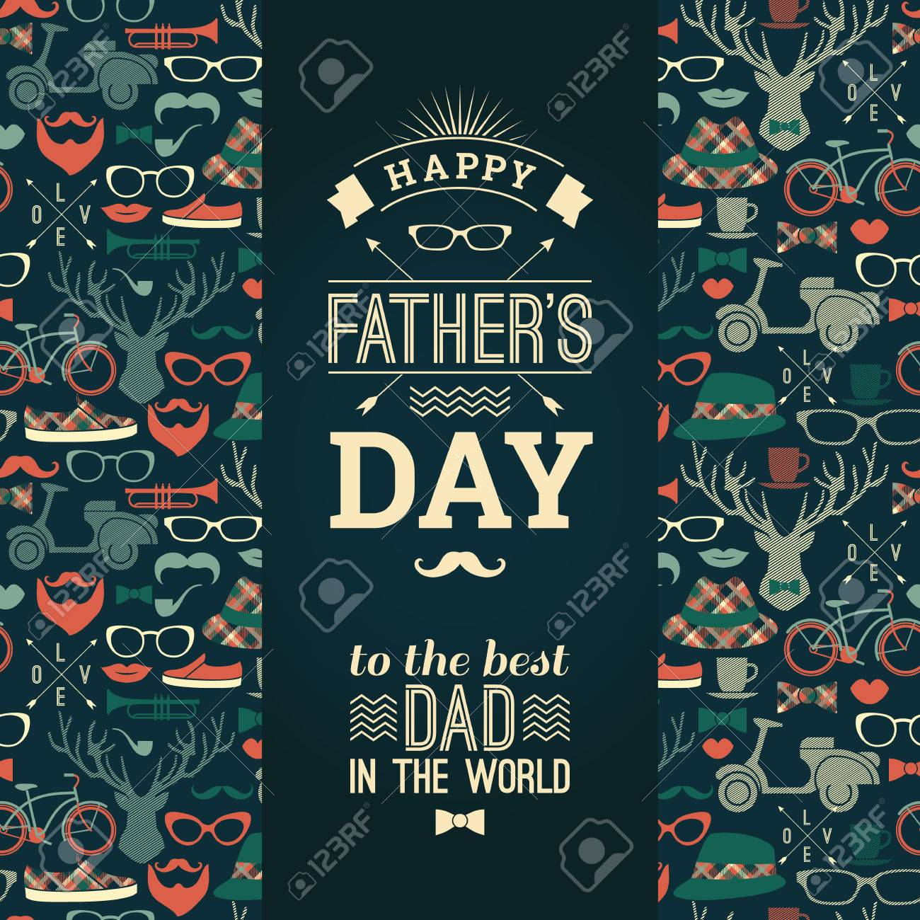Happy Father's Day Card In Retro Style. Vector illustration. - 58025063