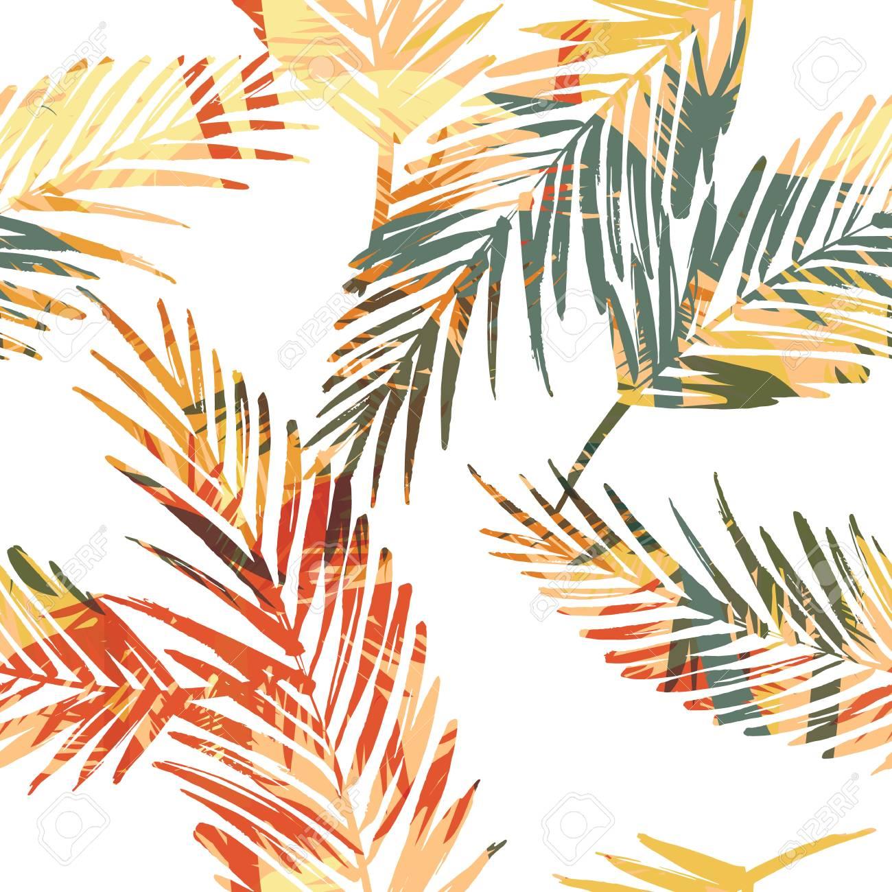 ccdbeb52bf Foto de archivo - Patrones exóticos sin fisuras con hojas de palma. Vector  mano dibujar la ilustración