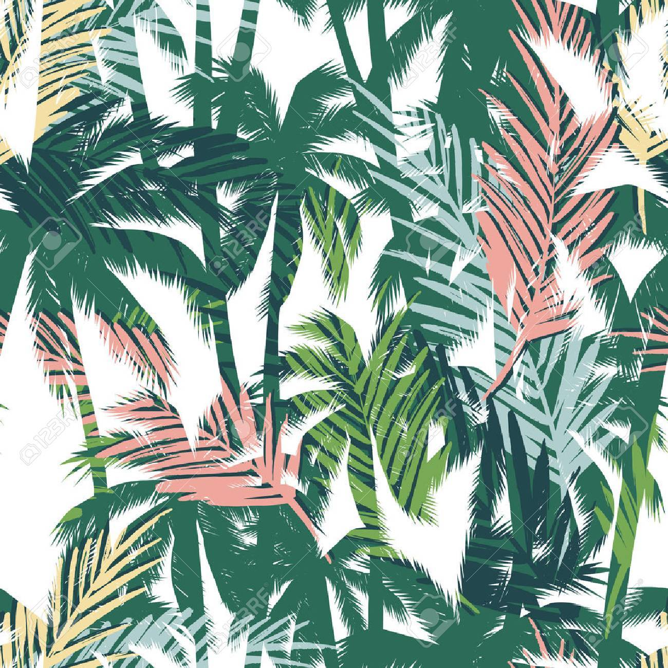 Tropical summer print with palm. Seamless pattern - 58887194
