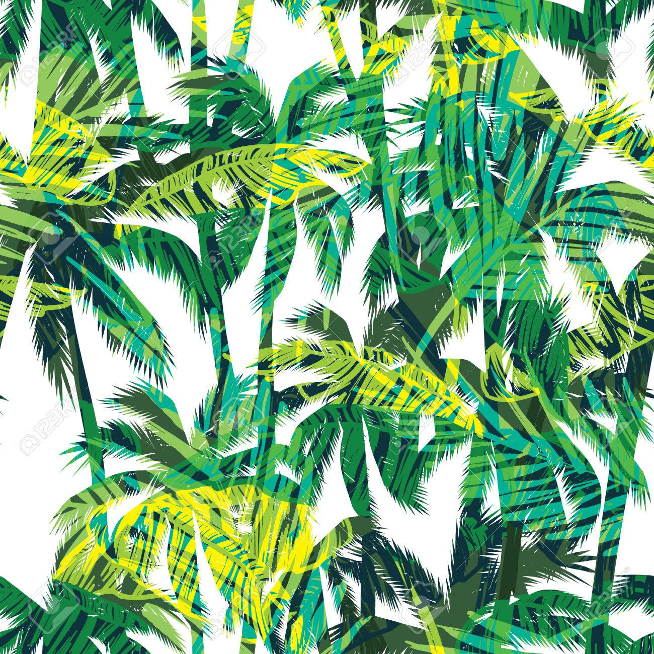 Tropical summer print with palm. Seamless pattern - 58887346