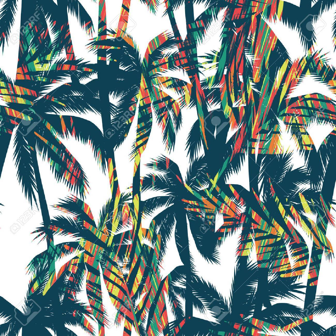 Tropical summer print with palm. Seamless pattern - 58887362