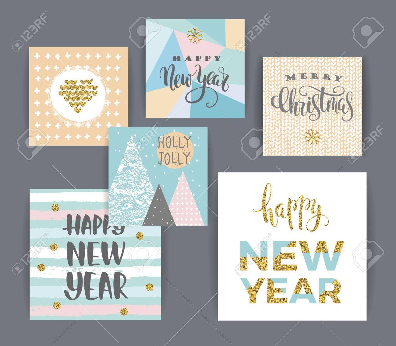 Conjunto De Creación Artística Feliz Navidad Y Año Nuevo Tarjetas Mano Texturas Dibujadas Y Las Letras Del Cepillo Diseño De Cartel Tarjeta