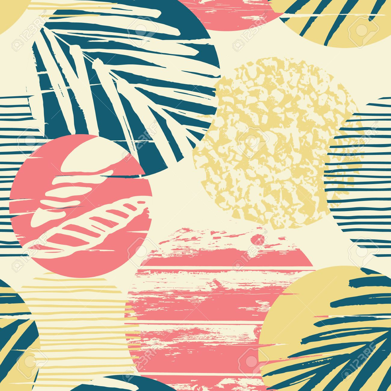 Seamless exotic pattern with palm leaves on geometric background . Vector illustration. - 67681315