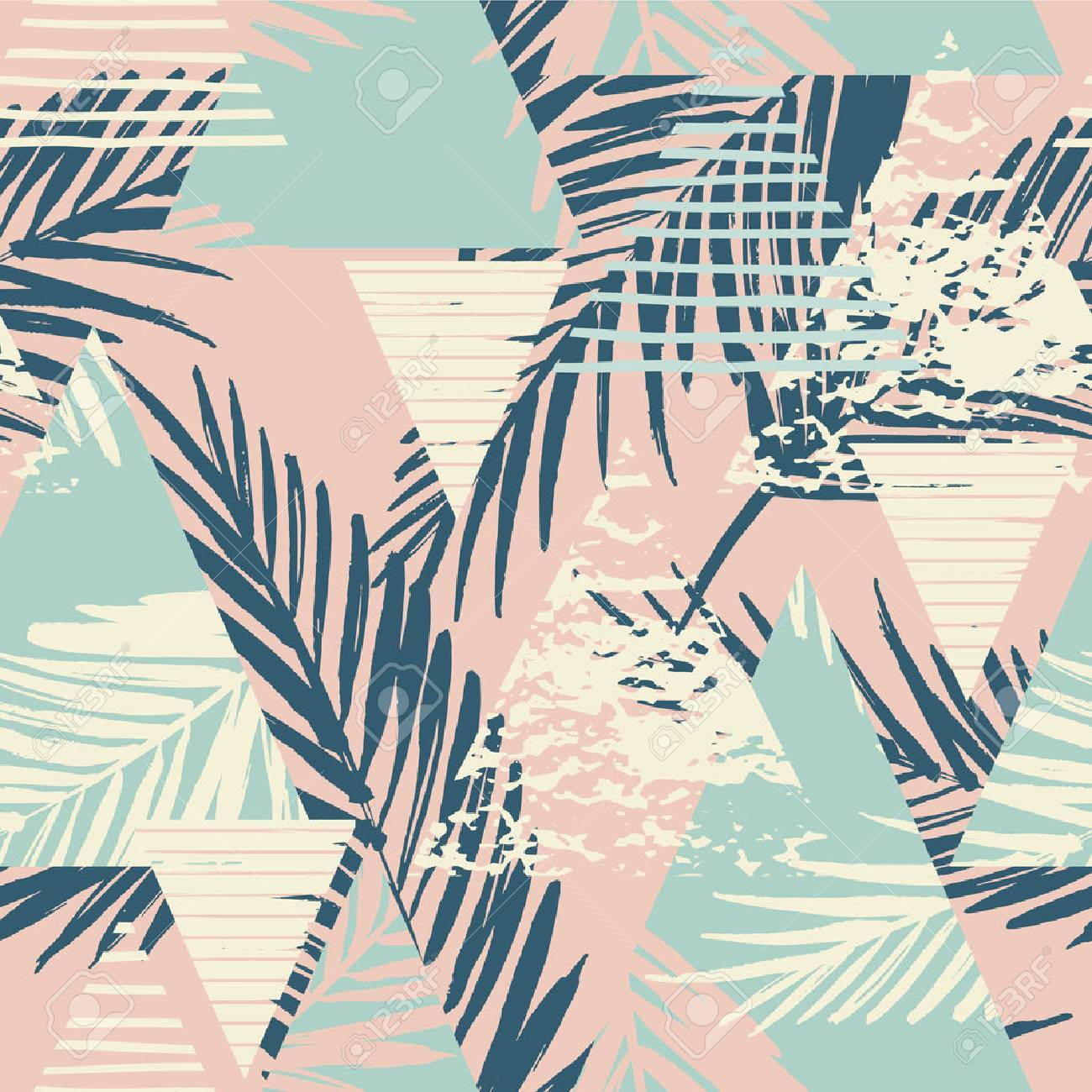Seamless exotic pattern with palm leaves on geometric background . Vector illustration. - 67681328