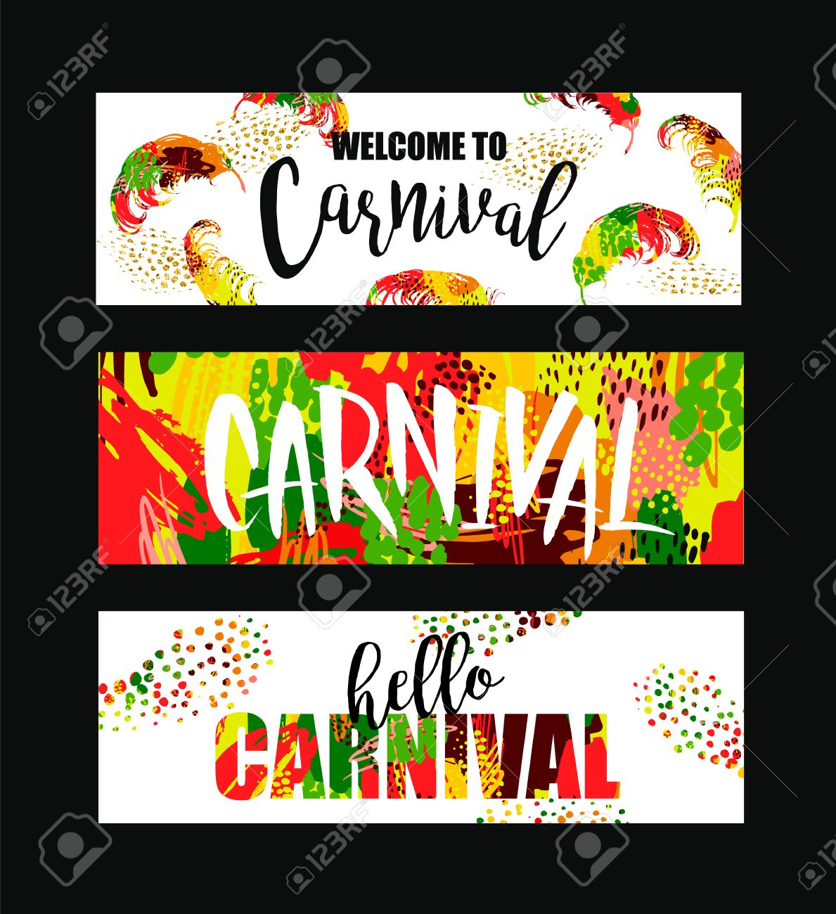 Carnival. Bright festive banners trending abstract style. Vector illustration - 69936261