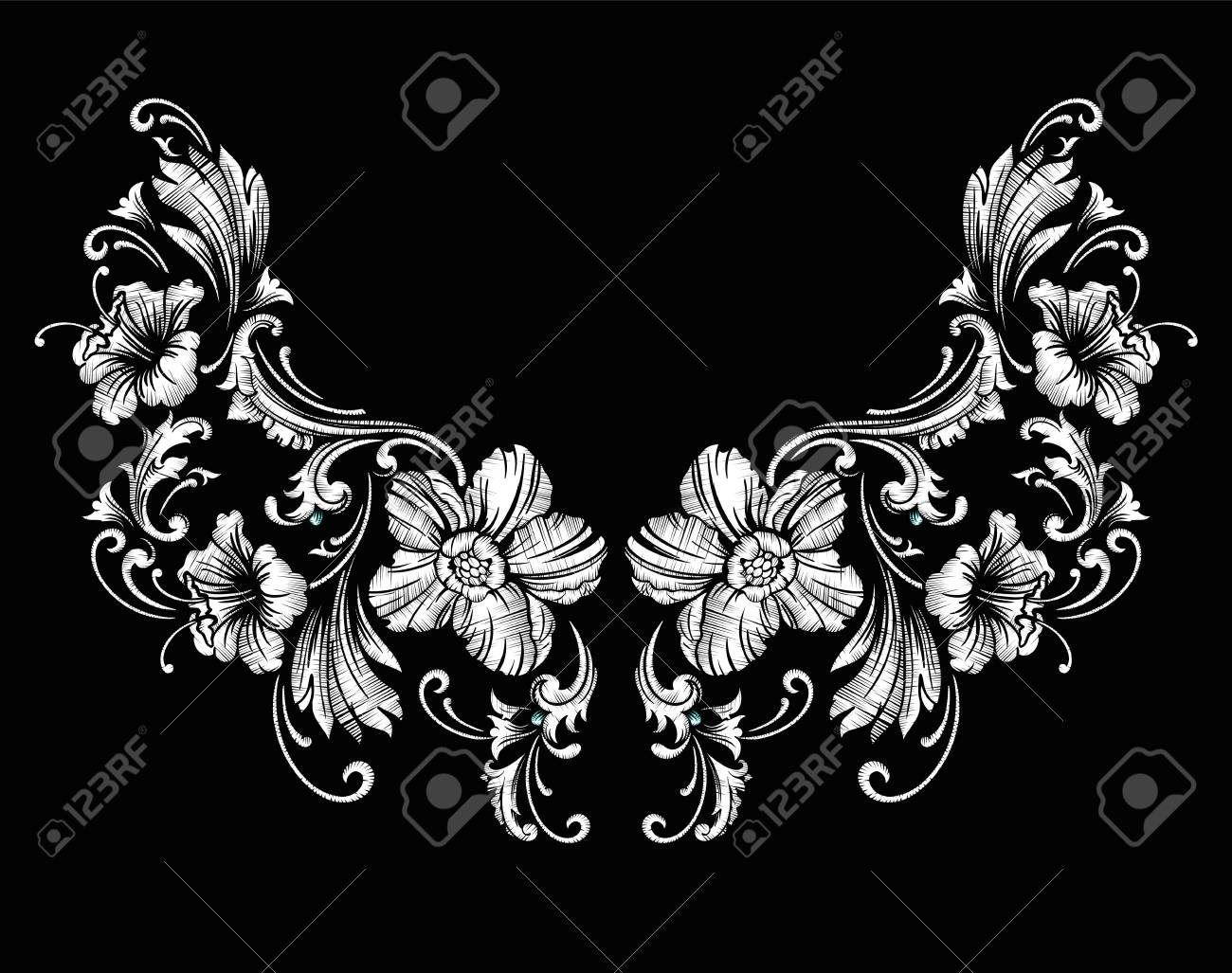 Floral Neck Embroidery Design In Baroque Style. Royalty Free ...