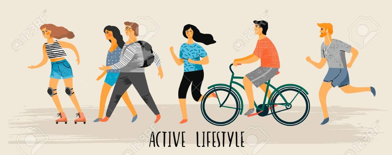 Vector Stylized Illustration Of Active Young People. Healthy Lifestyle.  Клипарты, векторы, и Набор Иллюстраций Без Оплаты Отчислений. Image  83011217.