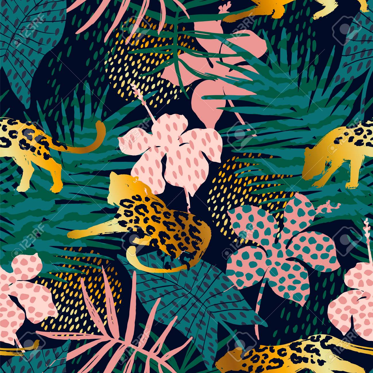 Trendy seamless exotic pattern with palm, animal prints and hand drawn textures. Vector illustration. Modern abstract design for paper, wallpaper, cover, fabric, Interior decor and other users. - 93748753