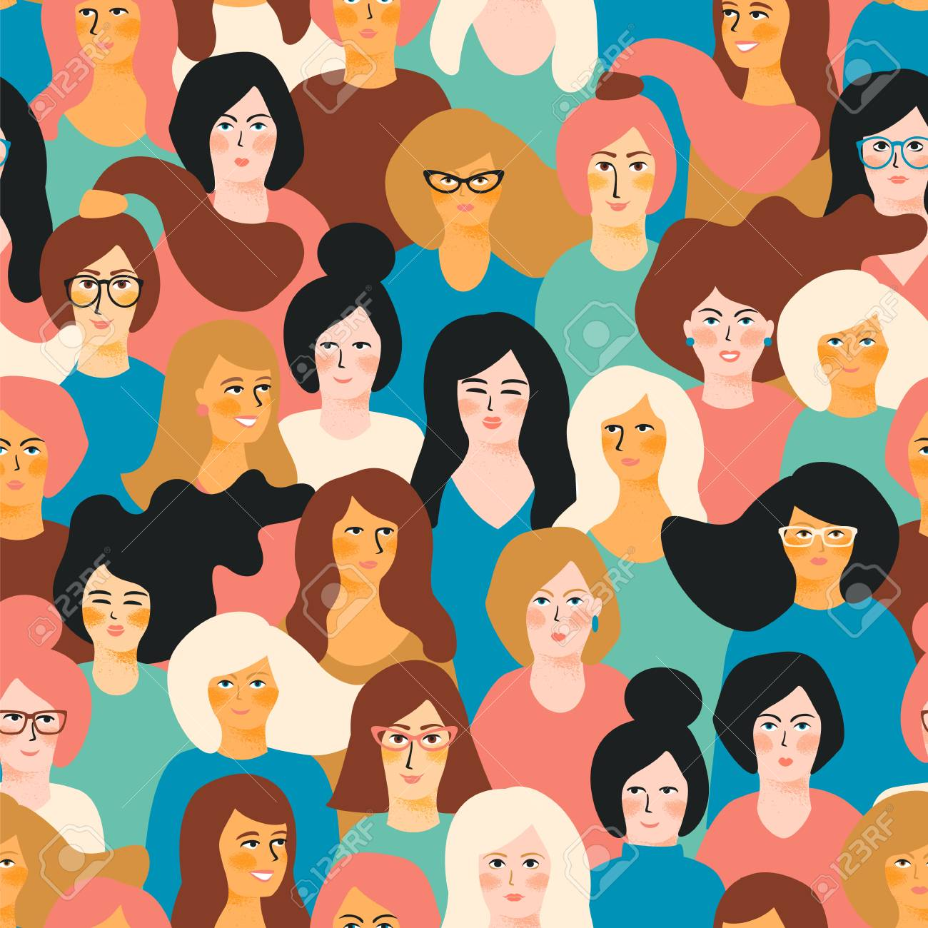International Women's Day vector seamless pattern with female faces. - 94676692