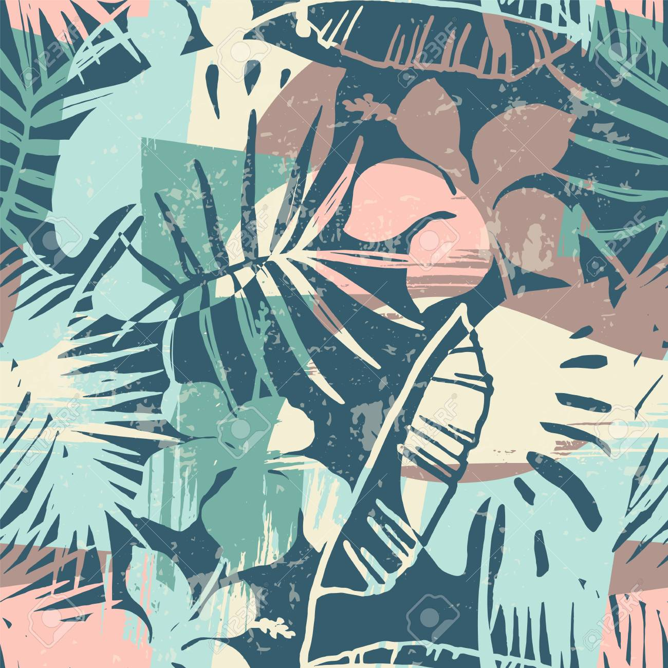 Seamless exotic pattern with tropical plants and artistic background - 94664818