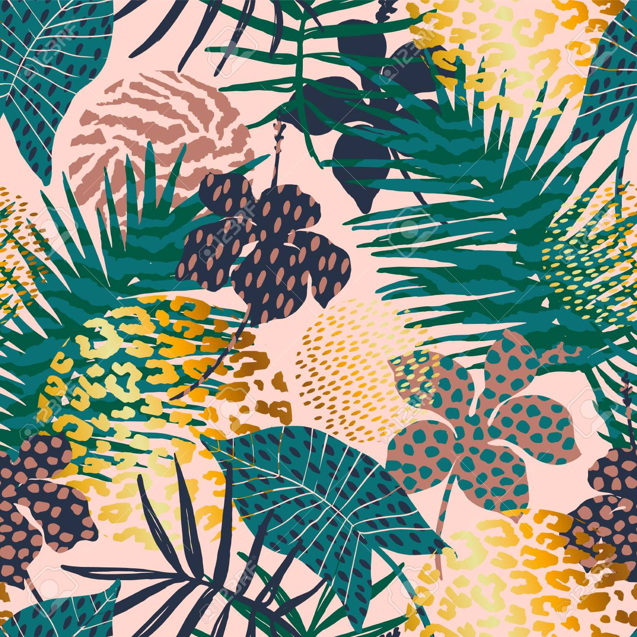Trendy seamless exotic pattern with palm, animal prints and hand drawn textures. - 94820536