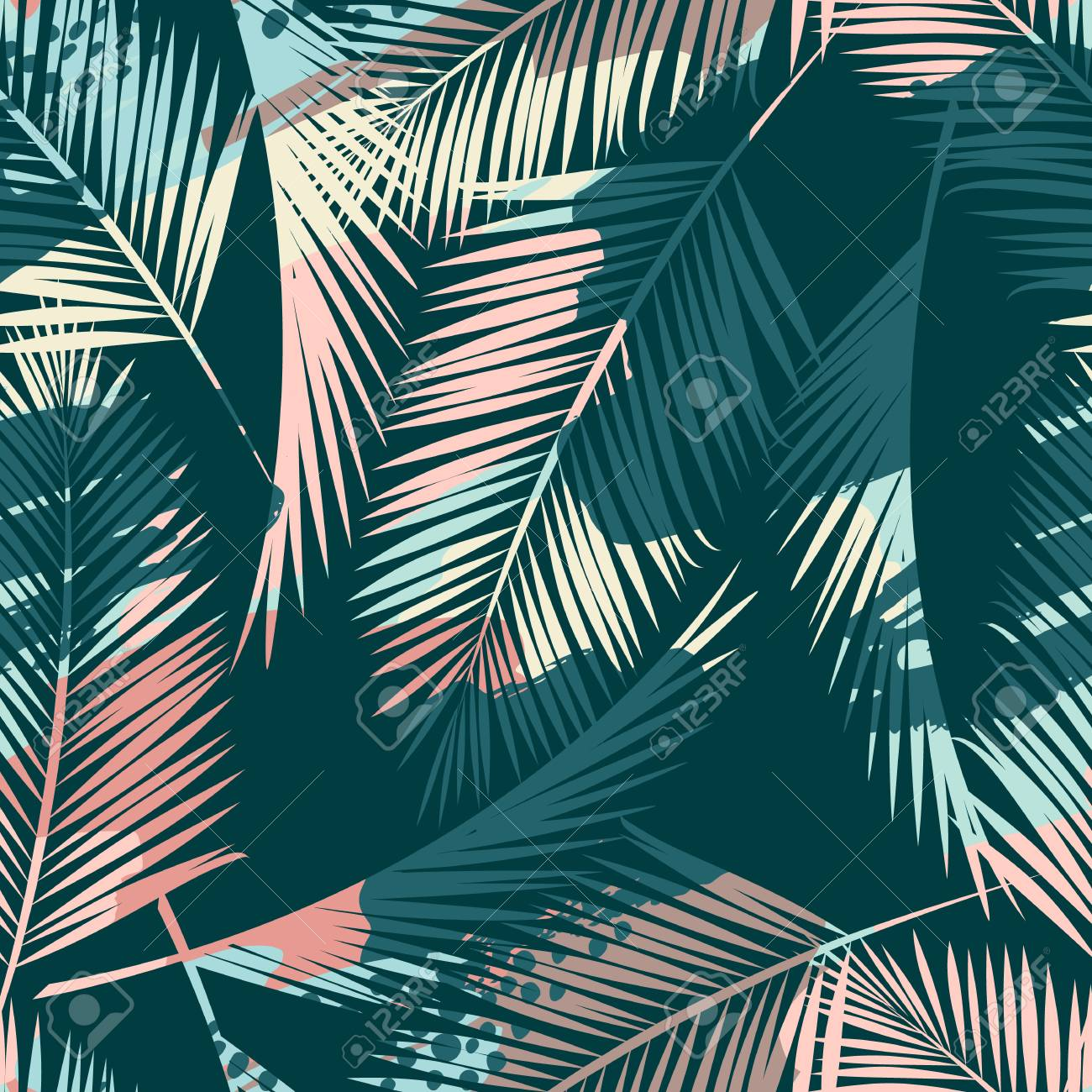 Seamless exotic pattern with tropical plants and artistic background. - 96391665
