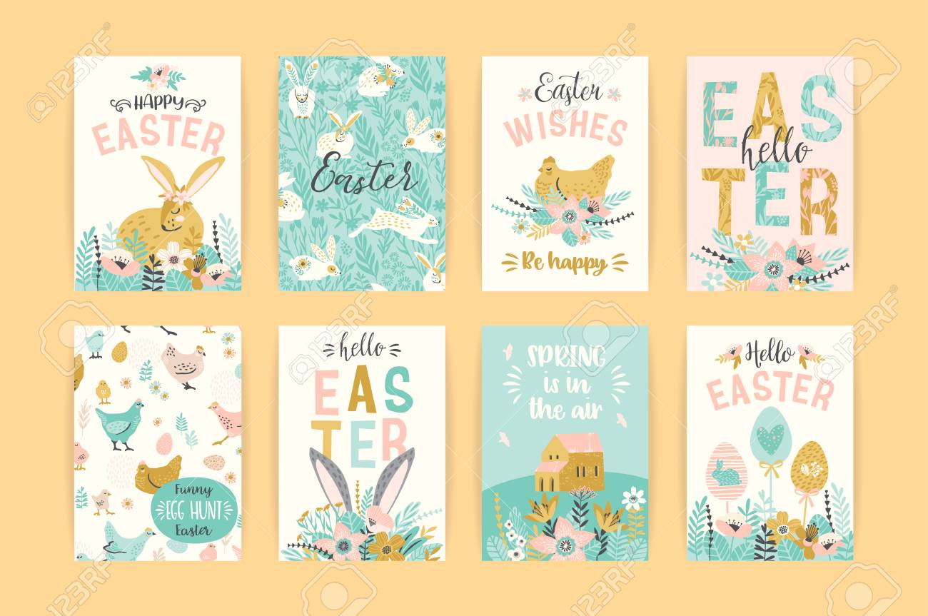 Happy Easter. Vector templates for card, poster, flyer and other design. - 96683288