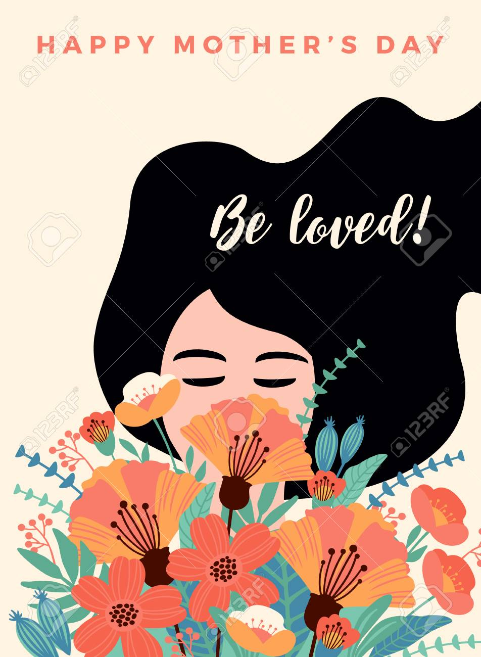 Happy Mothers Day. Vector illustration with woman and flowers. Design element for card, poster, banner, and other use. - 98534073