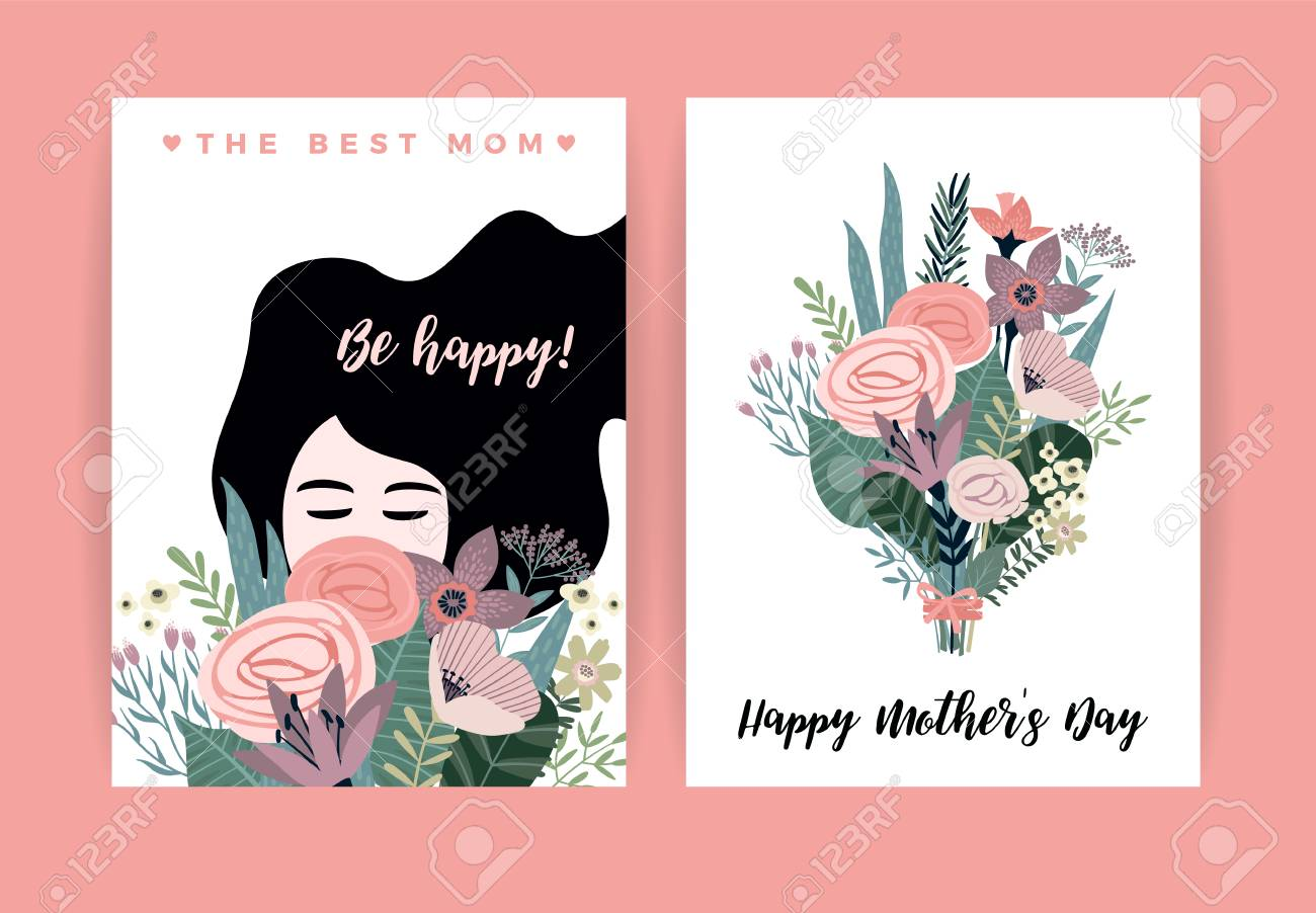 Happy Mothers Day. Vector illustration with woman and flowers. Design element for card, poster, banner, and other use. - 98534075