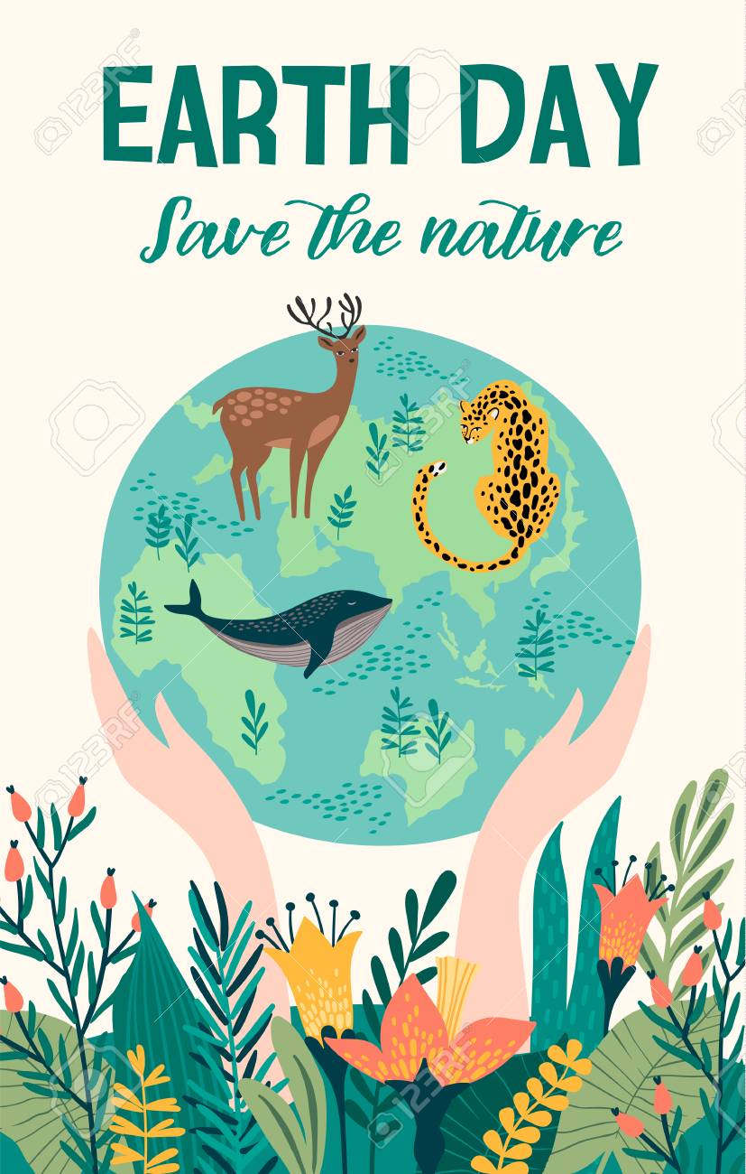 Earth Day with animals. Vector template for card, poster, banner, flyer Design element - 99139551