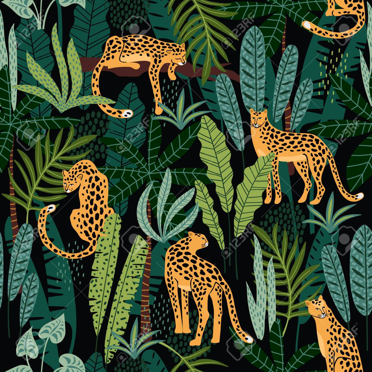 Vestor seamless pattern with leopards and tropical leaves. - 102561630