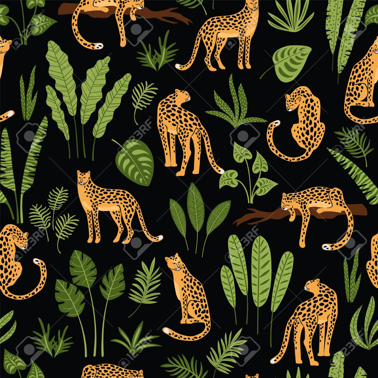 Vestor seamless pattern with leopards and tropical leaves. Trendy style. - 102561653