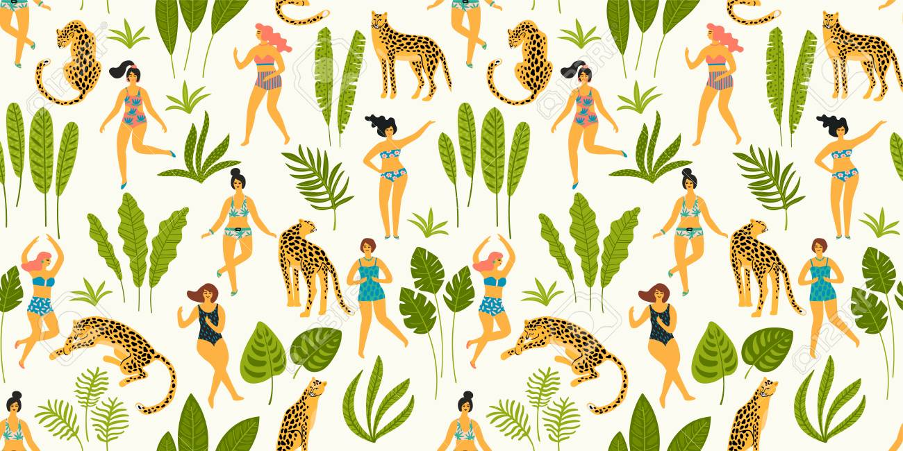 Vector seamless pattern with dancing ladyes in swimsuits and leopards. Design element for summer party concept and other use. - 107254225