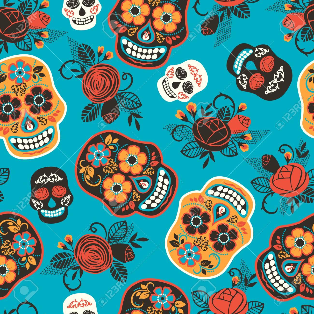 Dia de los muertos. Day of The Dead. Seamless pattern. Vector template. - 125686395