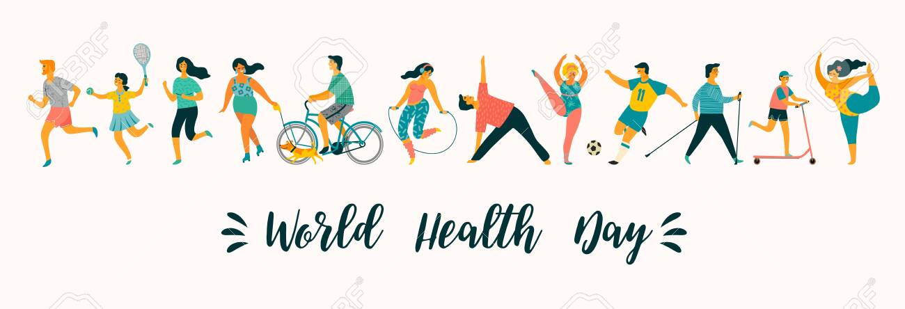 World Health Day. Vector illustration of people leading an active healthy lifestyle. Design element. - 124514663