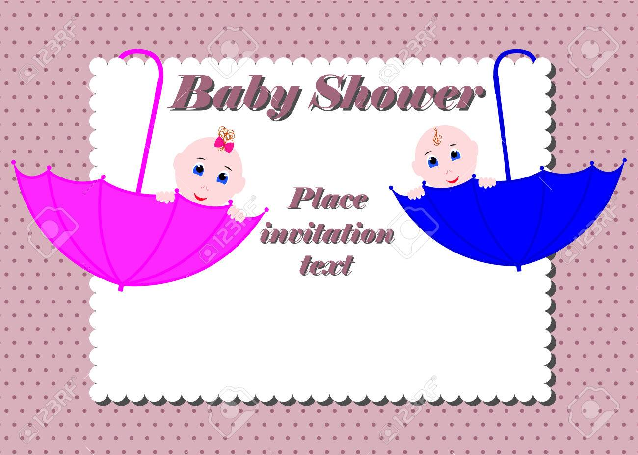 Baby Shower Invitation Card Cute Boy And Girl Sitting In Umbrella
