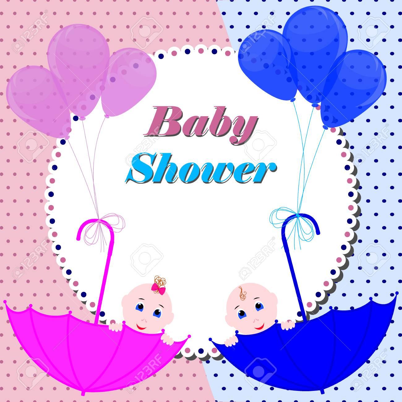 Baby Shower Invitation Card Cute Boy And Girl Sitting In Umbrella