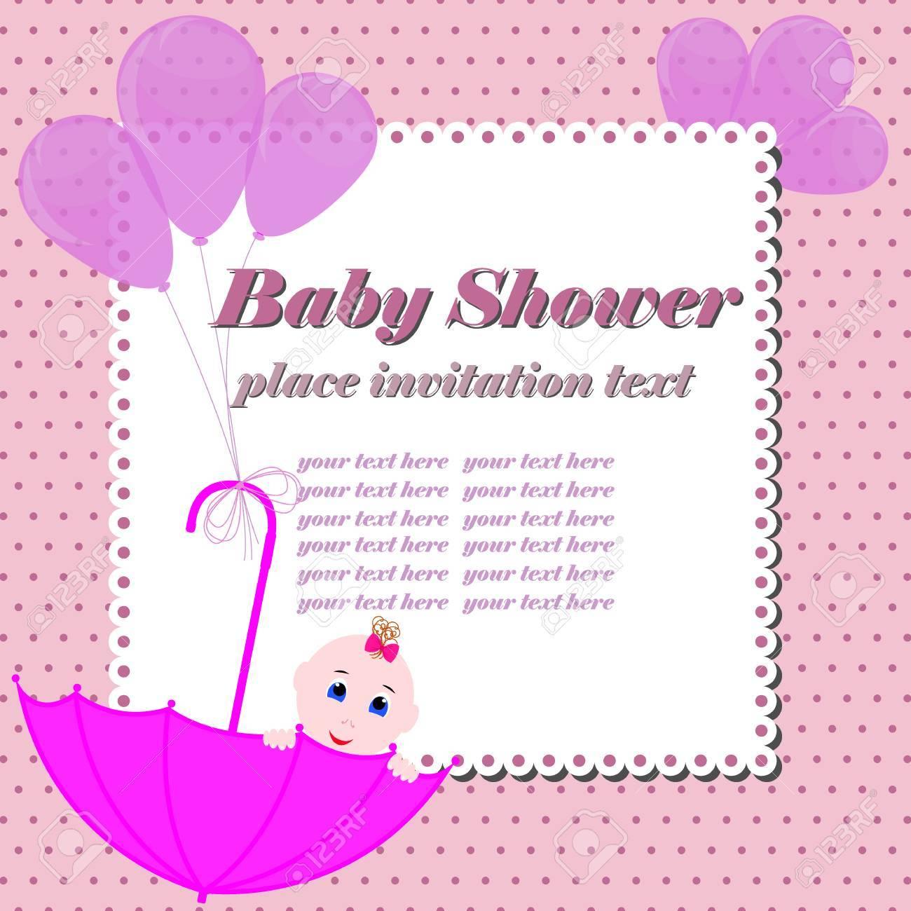 ecf7b74c63a5c Foto de archivo - Tarjeta de invitación de Baby Shower. Linda chica sentada  en el paraguas. Invitación de diseño o tarjeta de felicitación para baby  shower.