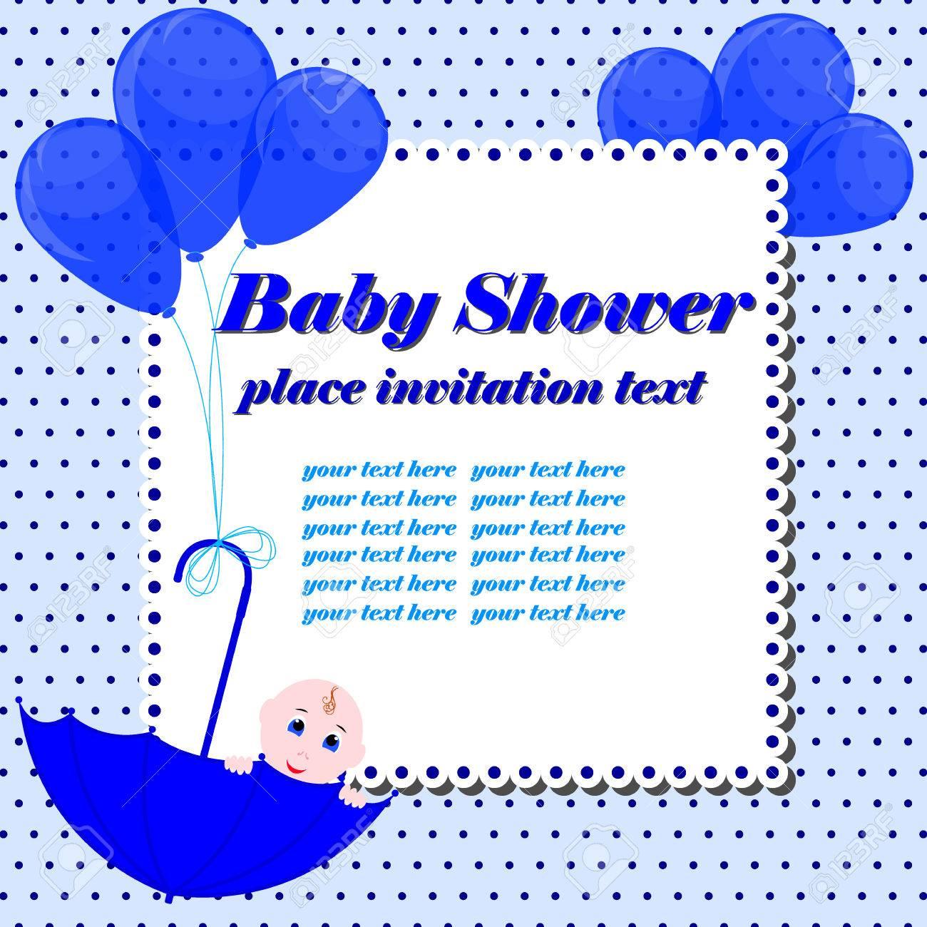 Baby Shower Invitation Card. Cute Boy Sitting In Umbrella. Design ...