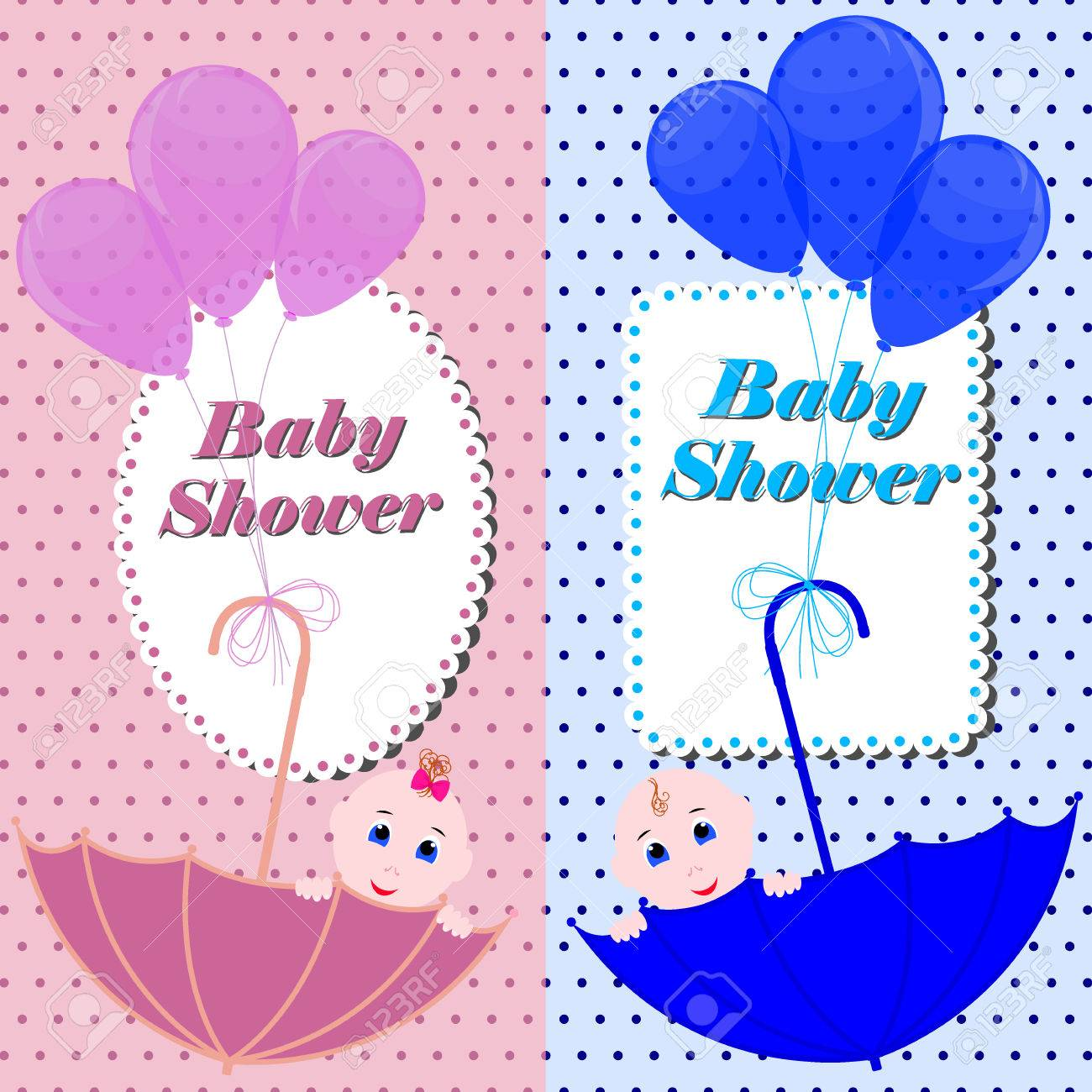 Baby Shower Banner Or Invitation Card Cute Boy And Girl Sitting