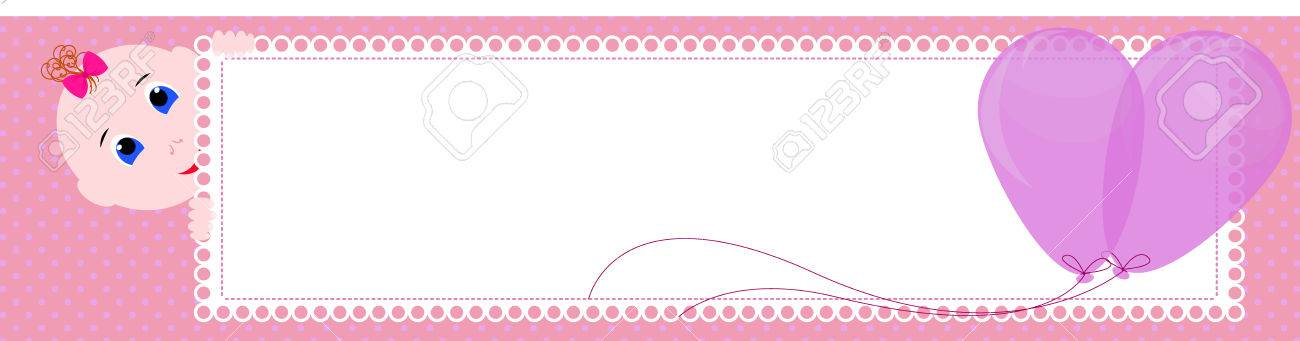 baby shower banner cute girl holding the sign for writing design