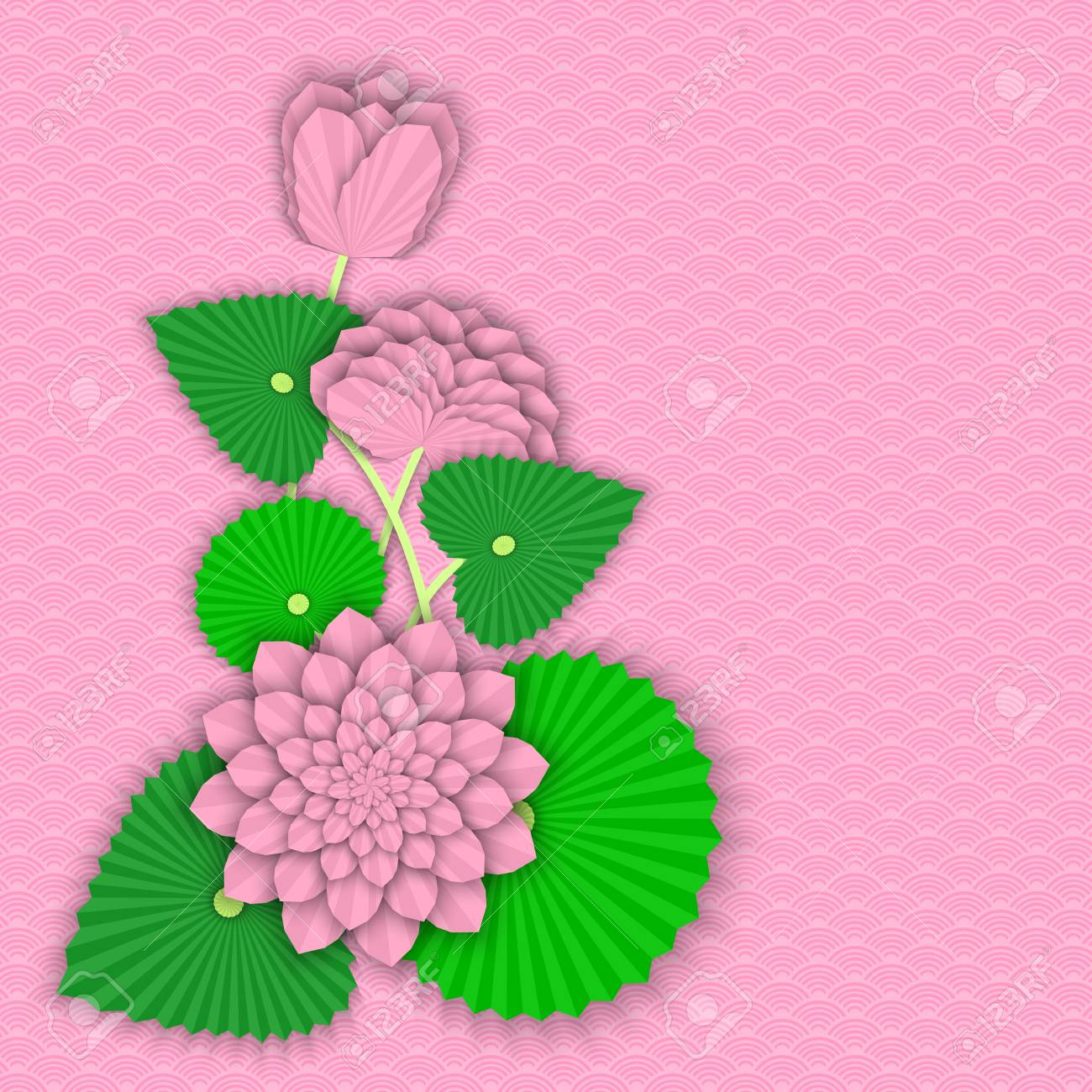 Flowers And Lotus Leaves In Origami Style On Traditional Oriental