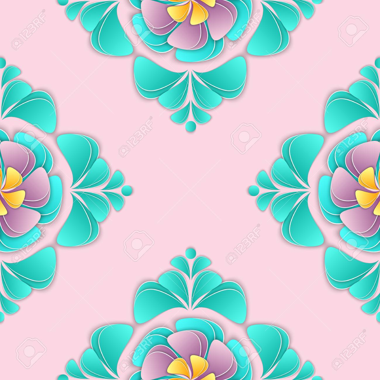 Paper Flowers And Petals Vector Illustration Floral 3d Background
