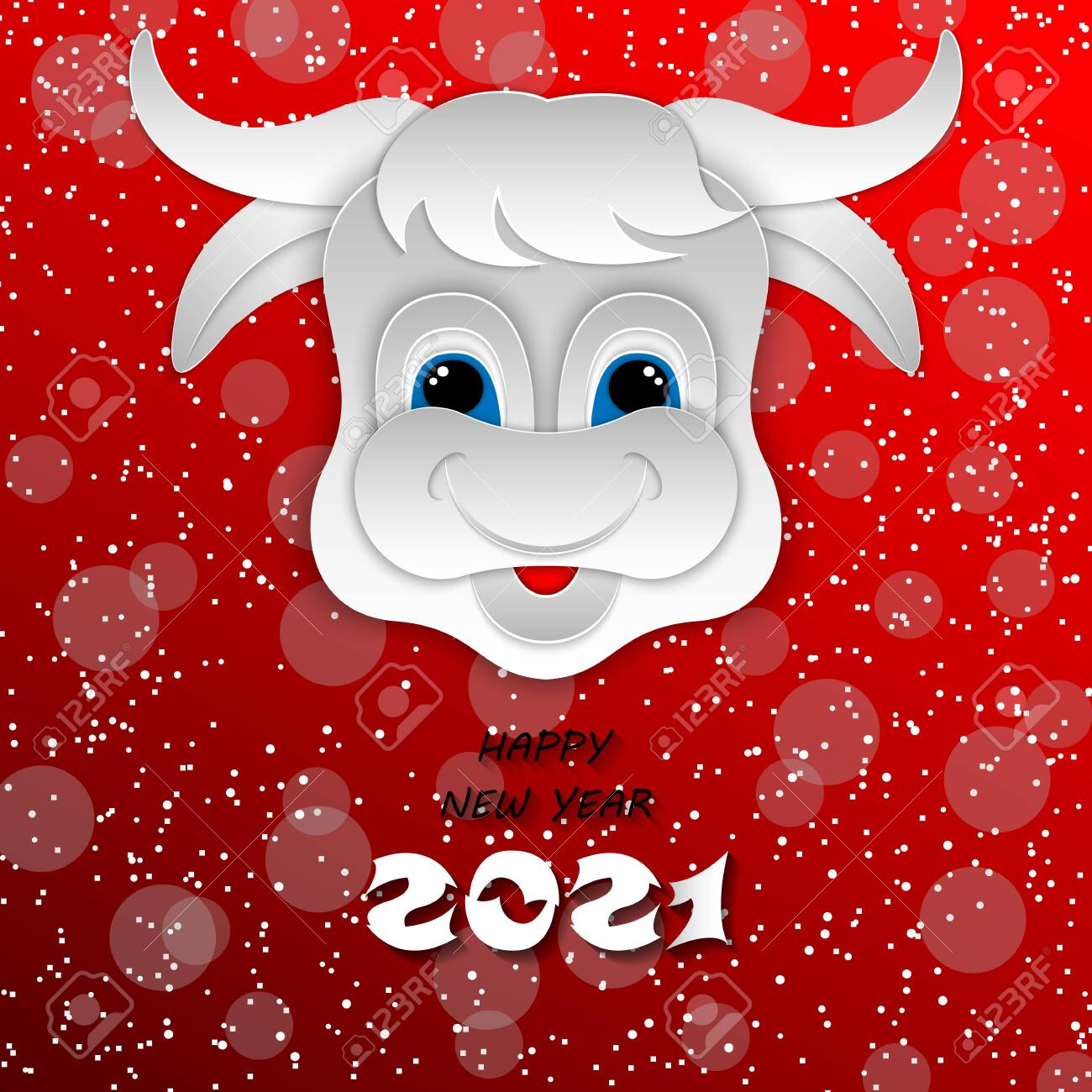 happy chinese new year 2021 ox zodiac sign paper cut art craft royalty free cliparts vectors and stock illustration image 133301068 123rf com