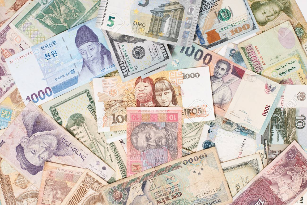 many different currencies as colorful background concept global money - 125125431
