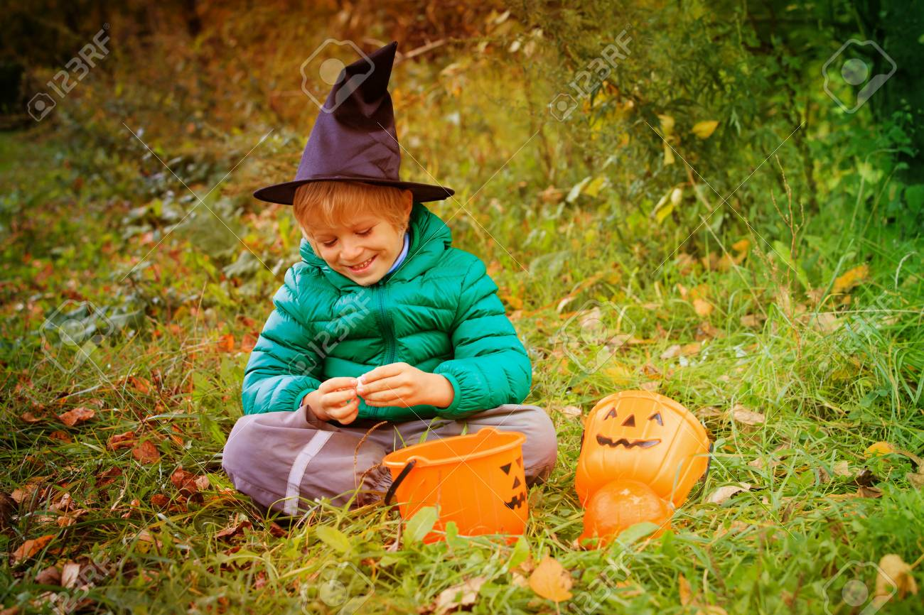 Little Boy Get Ready For Halloween Party Outdoors Stock Photo   86040535