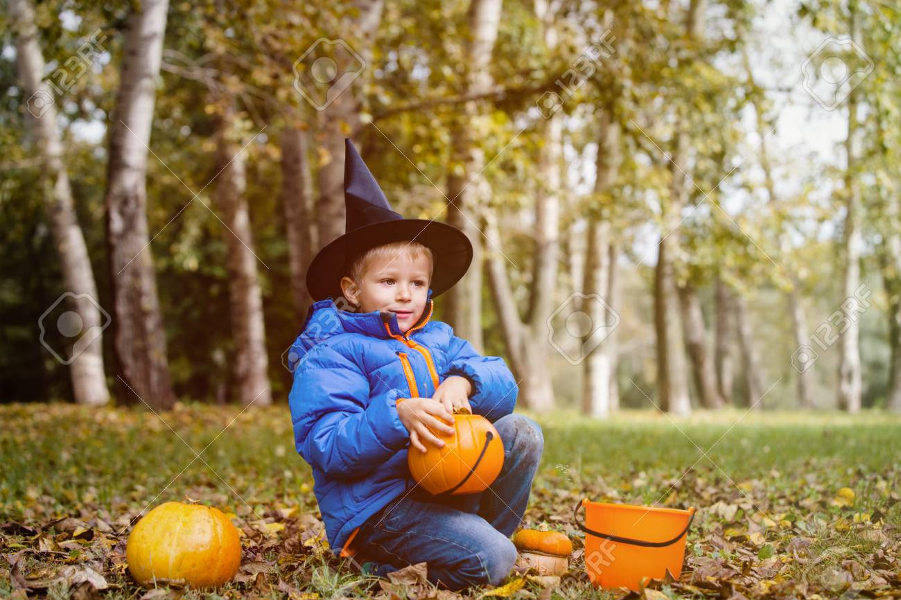 Little Boy Get Ready For Halloween Party Stock Photo   87646269