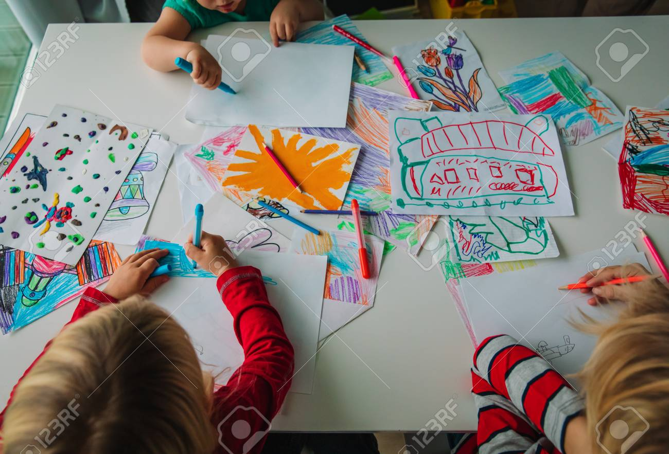 kids drawing, education, learning, arts and crafts class - 112718083