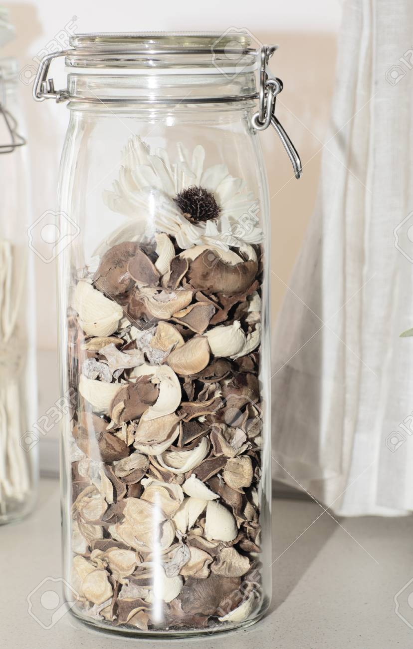 Glass Jar Filled With Petals Jar With Decorative Dry Flowers Stock