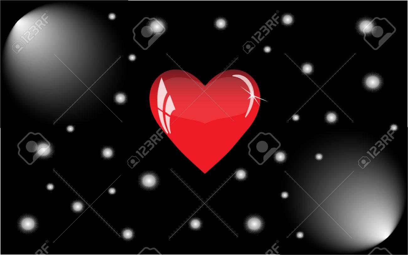 Vettoriale Cuore Rosso Con Riflessi Su Uno Sfondo Nero Il Cuore