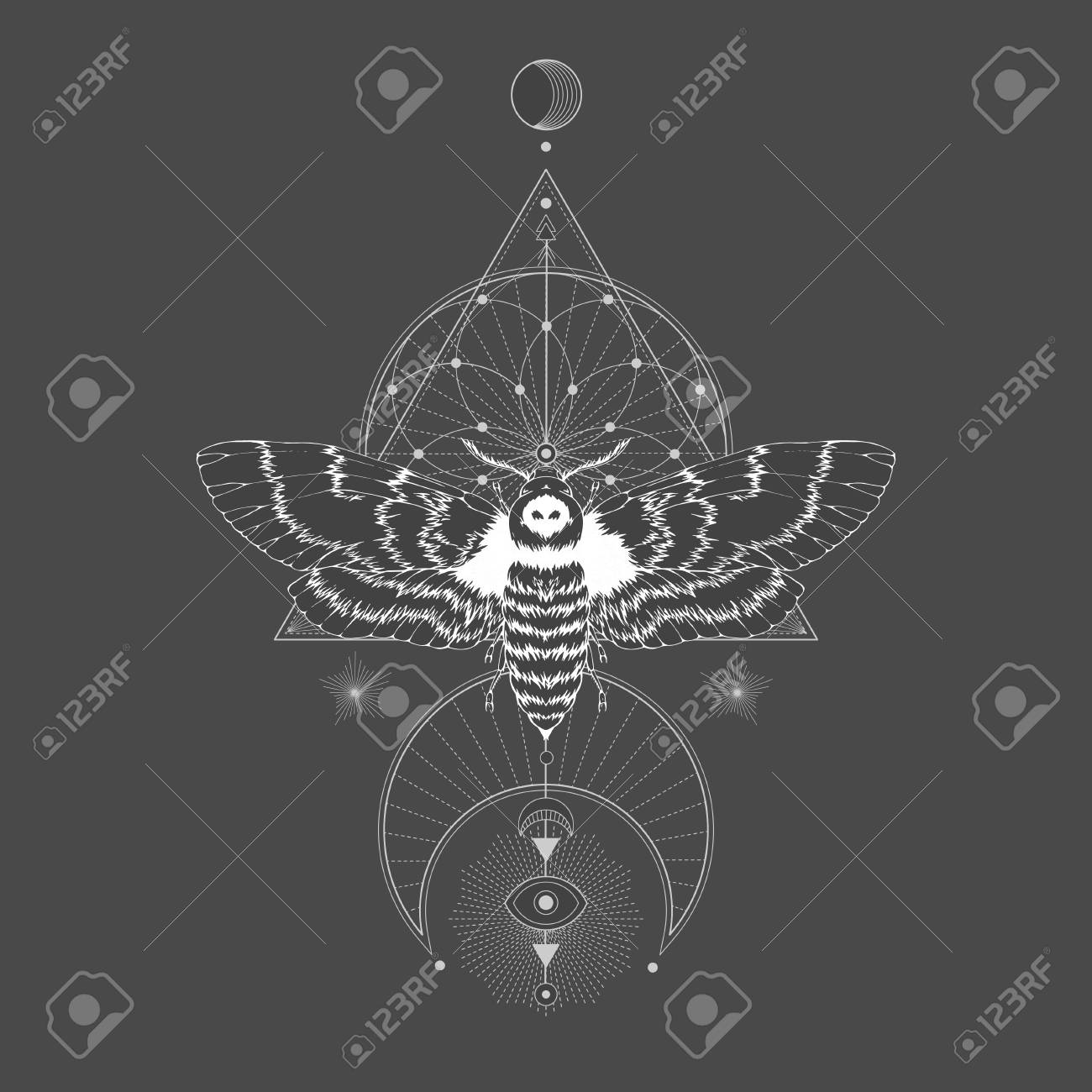Vector illustration with hand drawn dead head moth and Sacred geometric symbol on black vintage background. Abstract mystic sign. White linear shape. For you design: tattoo, print, posters, t-shirts, textiles and other. - 110949466