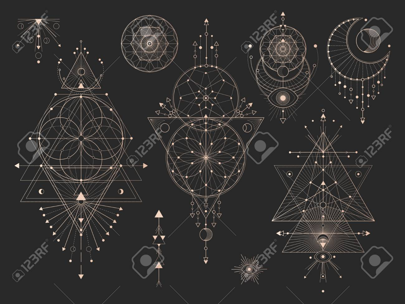 Vector set of Sacred geometric symbols with moon, eye, arrows, dreamcatcher and figures on black background. Gold abstract mystic signs collection drawn in lines. For you design: tattoo, print, posters, t-shirts, textiles and magic craft. - 110949507