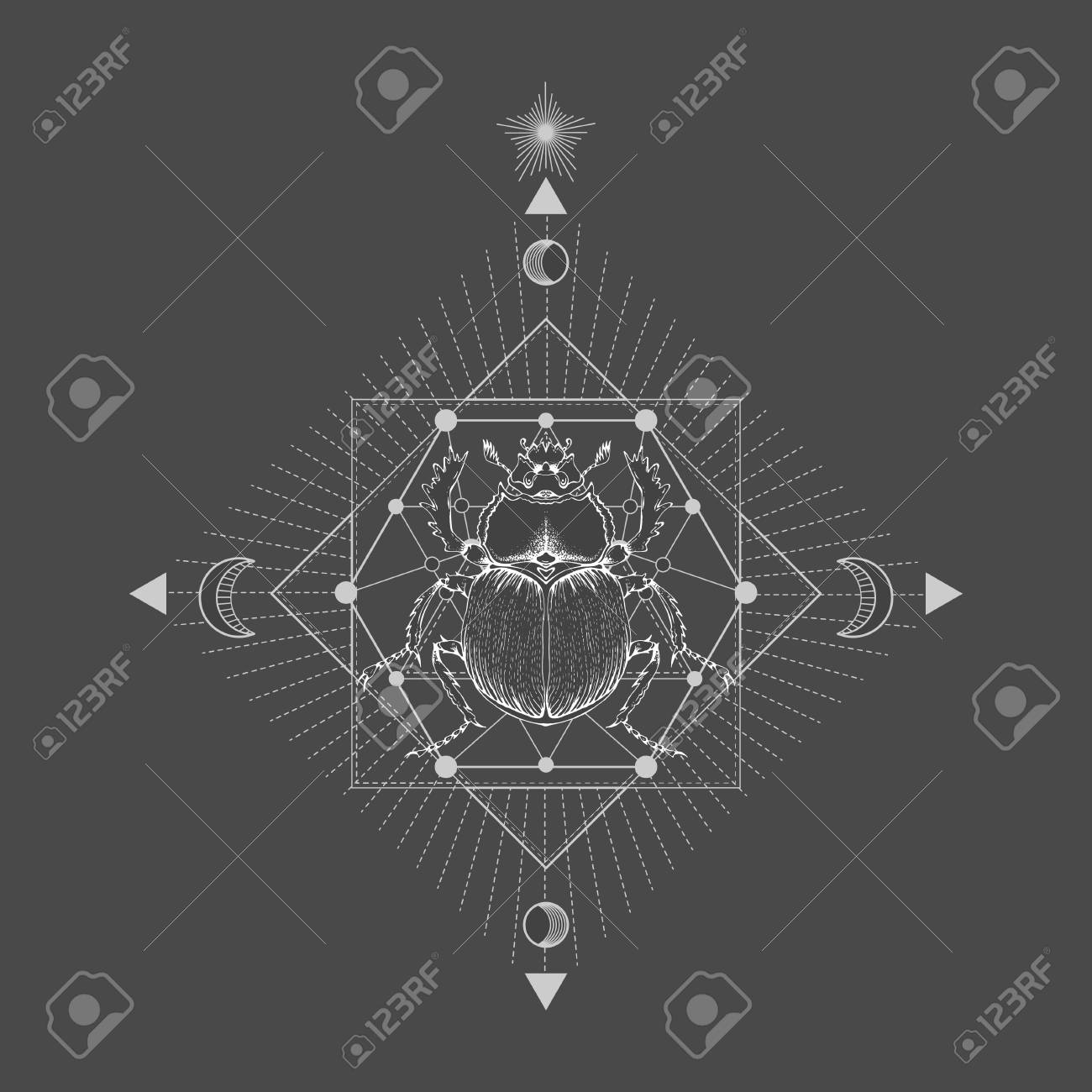 85d095b69 Vector illustration with hand drawn scarab and Sacred geometric symbol on  black vintage background. Abstract
