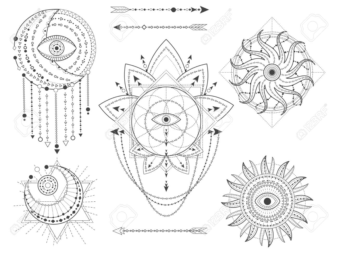 Vector set of Sacred geometric and natural symbols on white background
