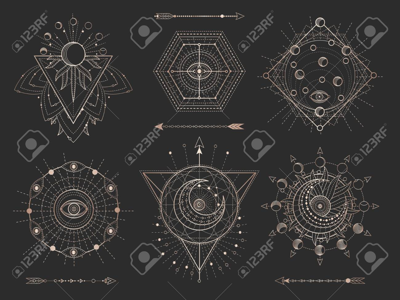 Vector set of Sacred geometric symbols and figures on black background. Gold abstract mystic signs collection drawn in lines. For you design: tattoo, print, posters, t shirts, textiles and magic craft - 123592839