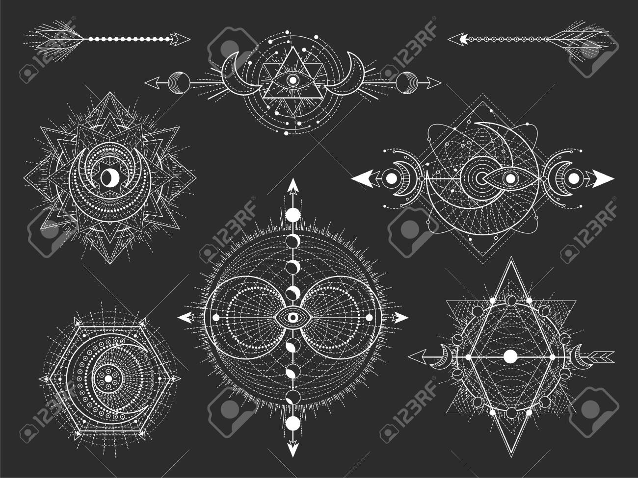 Vector set of Sacred geometric symbols and figures on black background. Abstract mystic signs collection. White linear shapes. For you design: tattoo, posters, t-shirts, textiles or magic craft. - 131282738