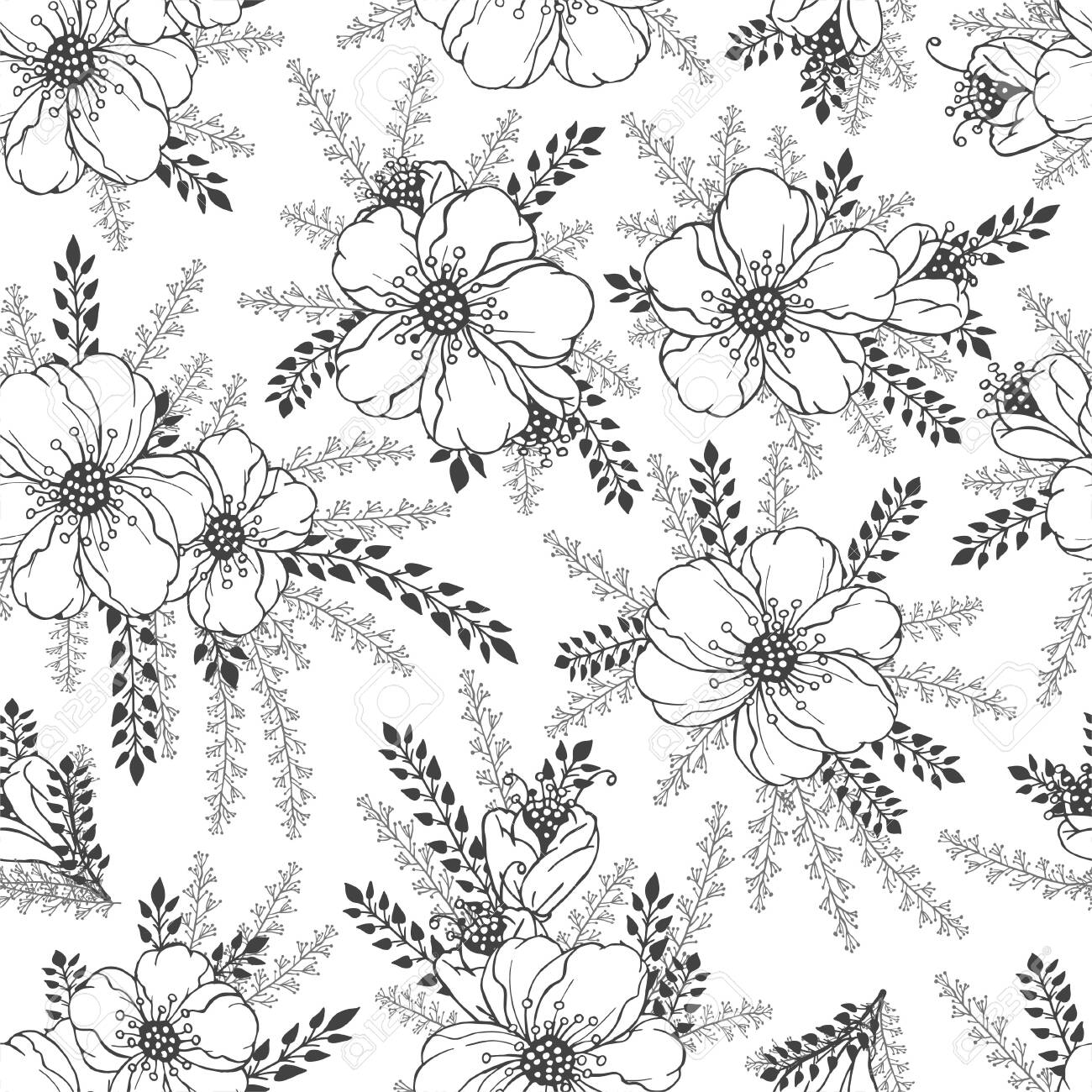 Vector seamless pattern with hand drawn flowers. Floral monochrome backgrounds. - 151784951